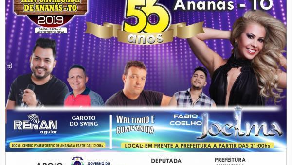 COMEMORAÇÃO: Ananás celebra 56 anos com cavalgada e show da cantora Joelma do Calypso