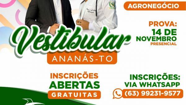 Fabic abre inscrições para o vestibular em Ananás nos cursos de Direito, Enfermagem, Ciências Contábeis e Agronegócio