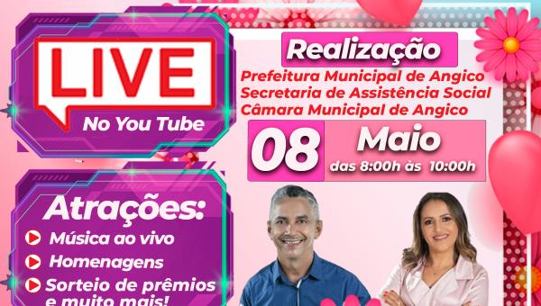 Live em homenagem ao Dia das Mães acontece neste sábado (08) em Angico