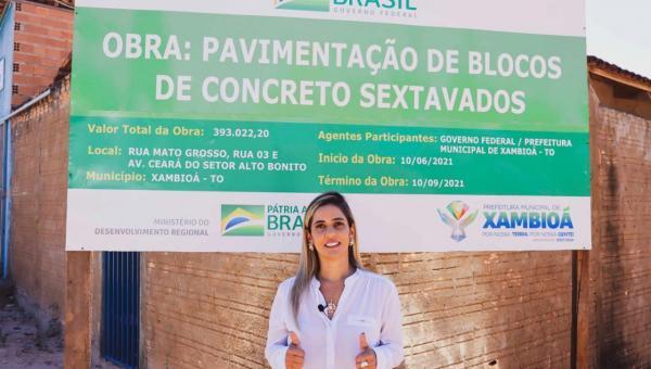Prefeita Patrícia Evelin dá pontapé inicial para pavimentação de ruas do Setor Alto Bonito em Xambioá