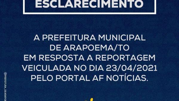 Prefeitura de Arapoema publica nota em resposta ao portal AF Notícias sobre o caso do Secretário de Saúde que supostamente acumula cargos ilegalmente