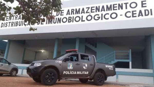 Polícia Militar reforça segurança das vacinas contra a Covid-19 armazenadas no Lacen/TO