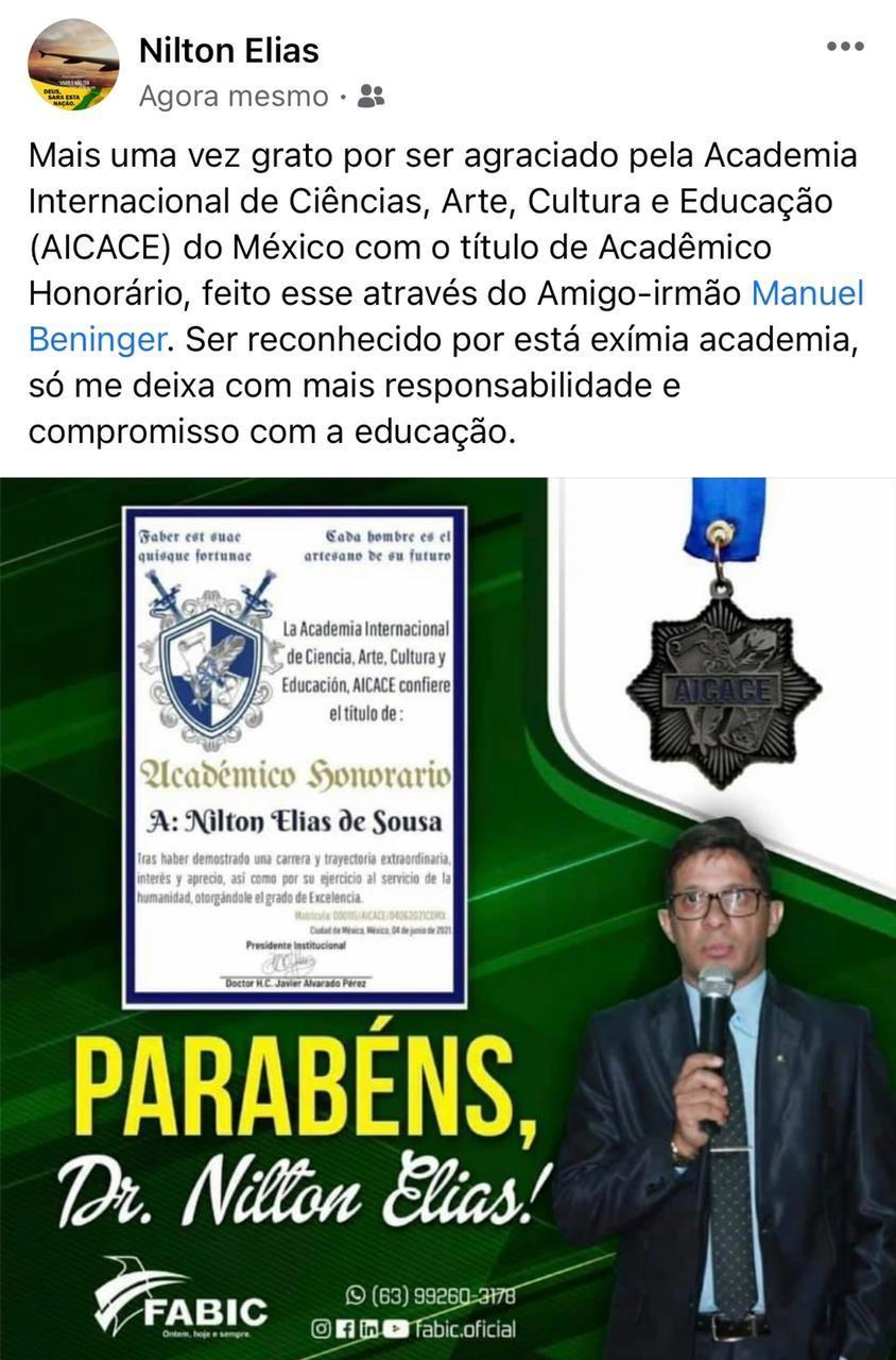 Diretor da Fabic recebe título de Acadêmico Honorário da Academia Internacional de Ciências, Arte, Cultura e Educação (AICACE) do México