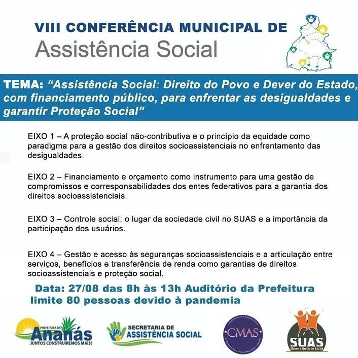 Prefeitura de Ananás  convida comunidade para participar da VIII Conferência Municipal de Assistência Social de Ananás