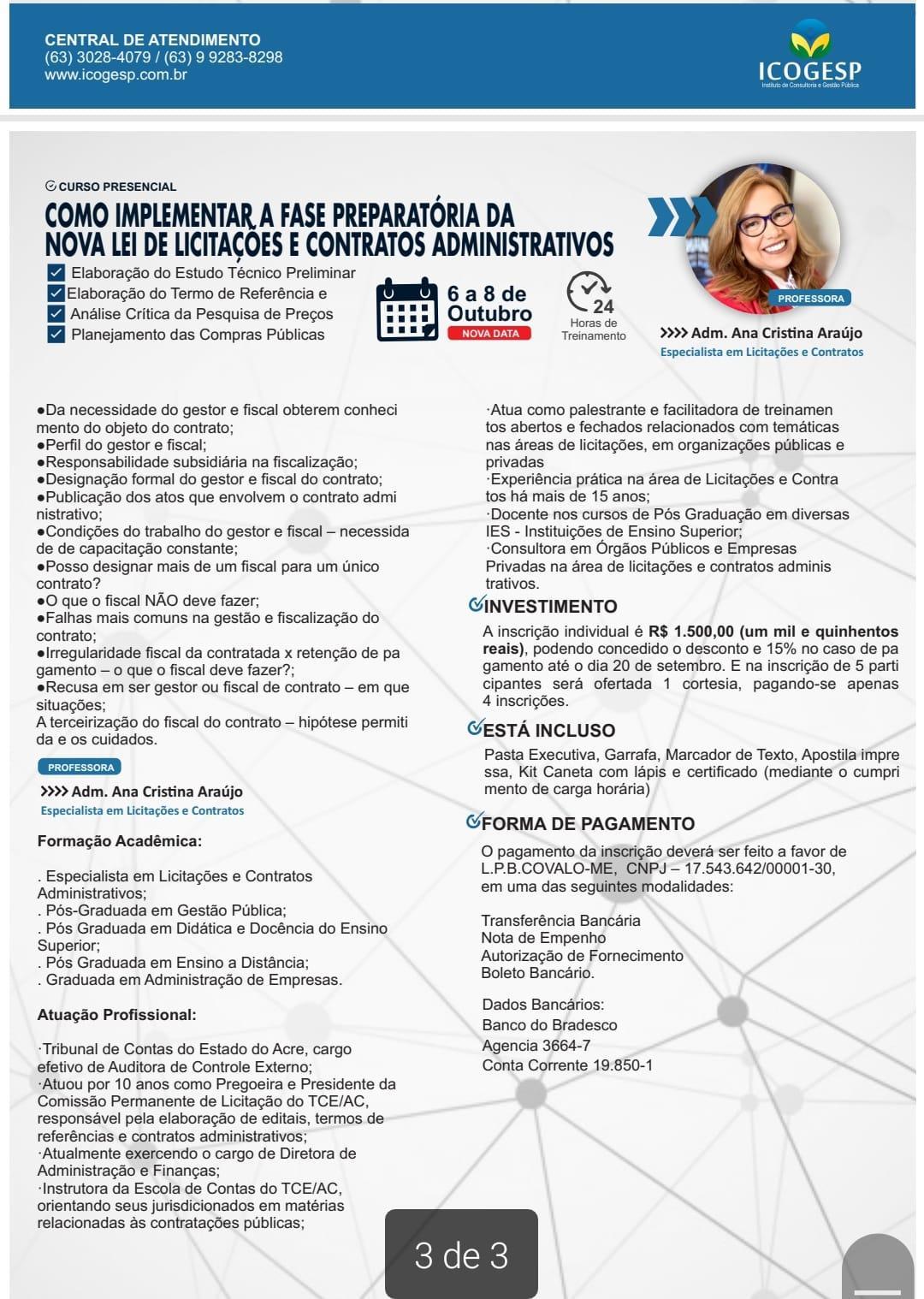 CURSO: Como implementar a fase preparatória da Nova Lei de Licitações e contratos administrativos